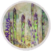 Round Beach Towel featuring the painting Purple Asparagus by Kim Nelson