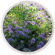 Purple Bachelor Button Flower Round Beach Towel