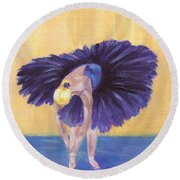 Round Beach Towel featuring the painting Purple Ballerina by Jamie Frier