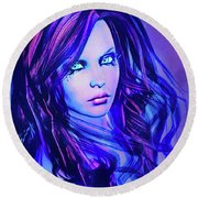 Purple Blue Portrait Round Beach Towel