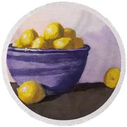 Purple Bowl And Small Lemons - Art By Bill Tomsa Round Beach Towel