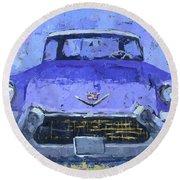 Purple Cadillac Round Beach Towel