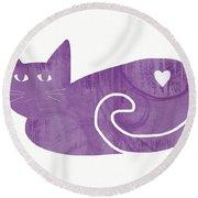 Purple Cat- Art By Linda Woods Round Beach Towel