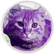 Purple Cat Round Beach Towel