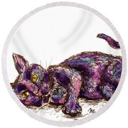 Purple Cat Round Beach Towel