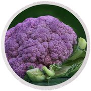 Purple Cauliflower Round Beach Towel by Nikolyn McDonald