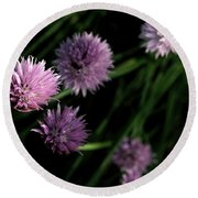 Purple Chives Round Beach Towel by Angela Rath