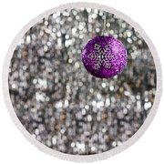 Round Beach Towel featuring the photograph Purple Christmas Bauble  by Ulrich Schade