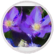 Purple Clementis Round Beach Towel