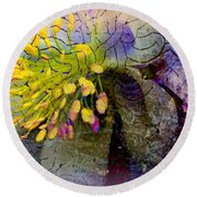 Purple Columbine Round Beach Towel