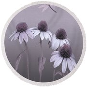 Purple Coneflowers And Dragonfly Round Beach Towel