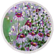 Purple Coneflowers Round Beach Towel