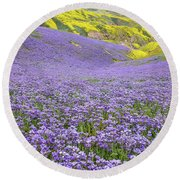 Purple  Covered Hillside Round Beach Towel by Marc Crumpler