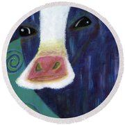 Santa Cow Round Beach Towel