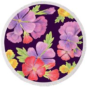 Purple Dance Flowers  Round Beach Towel