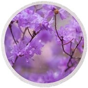 Round Beach Towel featuring the photograph Purple Delight. Spring Watercolors by Jenny Rainbow