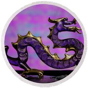 Purple Dragon Round Beach Towel