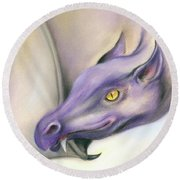 Round Beach Towel featuring the pastel Purple Dragon On The Wing by MM Anderson