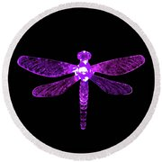 Purple Dragonfly Round Beach Towel