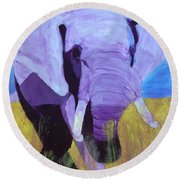 Purple Elephant Round Beach Towel