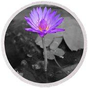 Purple Enlightened Lotus Round Beach Towel