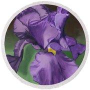 Purple Fantasy Round Beach Towel by Lynne Reichhart