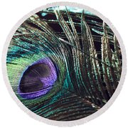 Purple Feather With Dark Background Round Beach Towel
