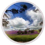 Round Beach Towel featuring the photograph Purple Fields by Douglas Barnard