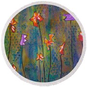 Round Beach Towel featuring the painting Purple Fields Of Joy by Patricia Cleasby