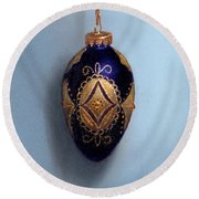 Purple Filigree Egg Ornament Round Beach Towel