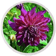 Round Beach Towel featuring the digital art Purple Floral by Kirt Tisdale