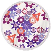 Purple Flower Fantasy Round Beach Towel by Methune Hively