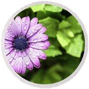 Purple Flower On Green Round Beach Towel