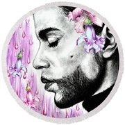 Purple Flower Rain  Prince, Roger Nelson Round Beach Towel