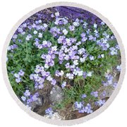 Purple Flower Textured Photo 1028b Round Beach Towel