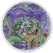 Purple Flower Textured Photo 1028d Round Beach Towel
