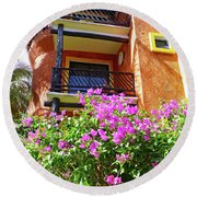Round Beach Towel featuring the photograph Purple Flowers By The Balcony by Francesca Mackenney