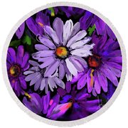 Purple Flowers Round Beach Towel