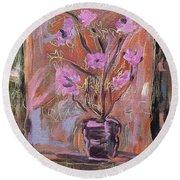 Purple Flowers In Vase Round Beach Towel