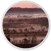 Purple Fog On Swamp Round Beach Towel
