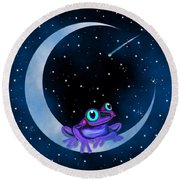 Round Beach Towel featuring the painting Purple Frog On A Crescent Moon by Nick Gustafson