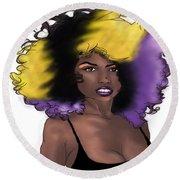 Round Beach Towel featuring the digital art Purple Girl by Jayvon Thomas