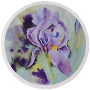 Round Beach Towel featuring the painting Purple Glory by Beatrice Cloake
