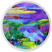 Purple Graze Round Beach Towel by Elizabeth Fontaine-Barr