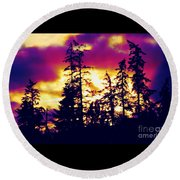 Round Beach Towel featuring the photograph Purple Haze Forest by Nick Gustafson
