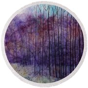 Round Beach Towel featuring the painting Purple Haze by Hailey E Herrera
