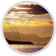 Orchid Sky Round Beach Towel