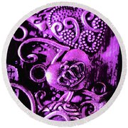 Purple Heart Collection Round Beach Towel