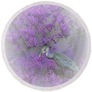 Round Beach Towel featuring the digital art Purple Hideaway by Ellen O'Reilly