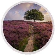 Purple Hill Round Beach Towel